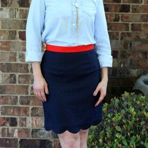 Brixon Ivy Navy Blue Scalloped Pencil Skirt